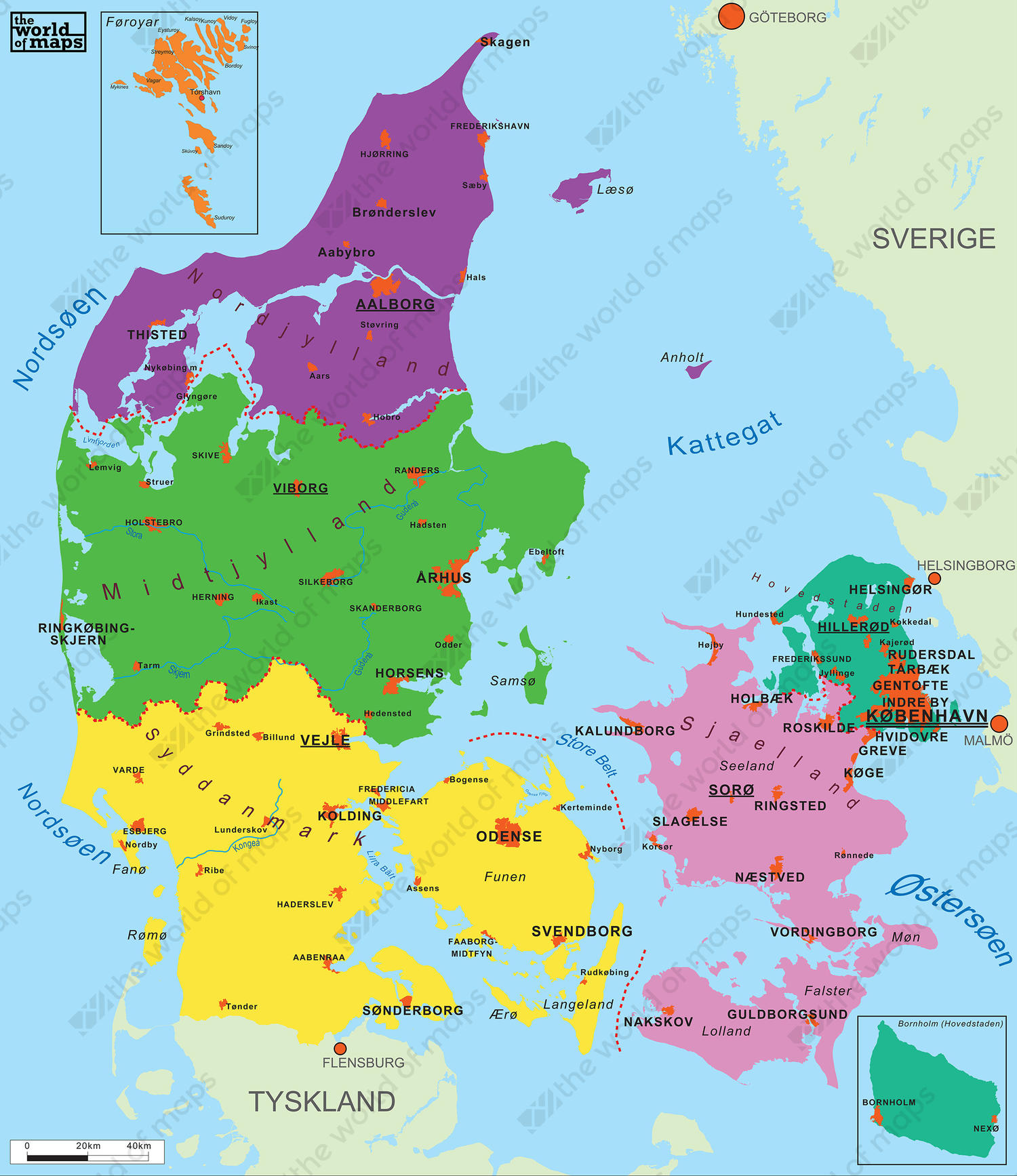 Simple Digital Denmark Map 68 The World of Mapscom