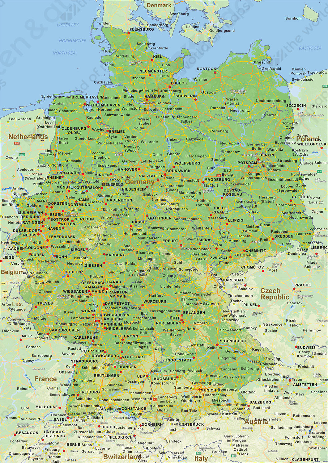 Political Map Of Germany 1461 The World Of Maps Com