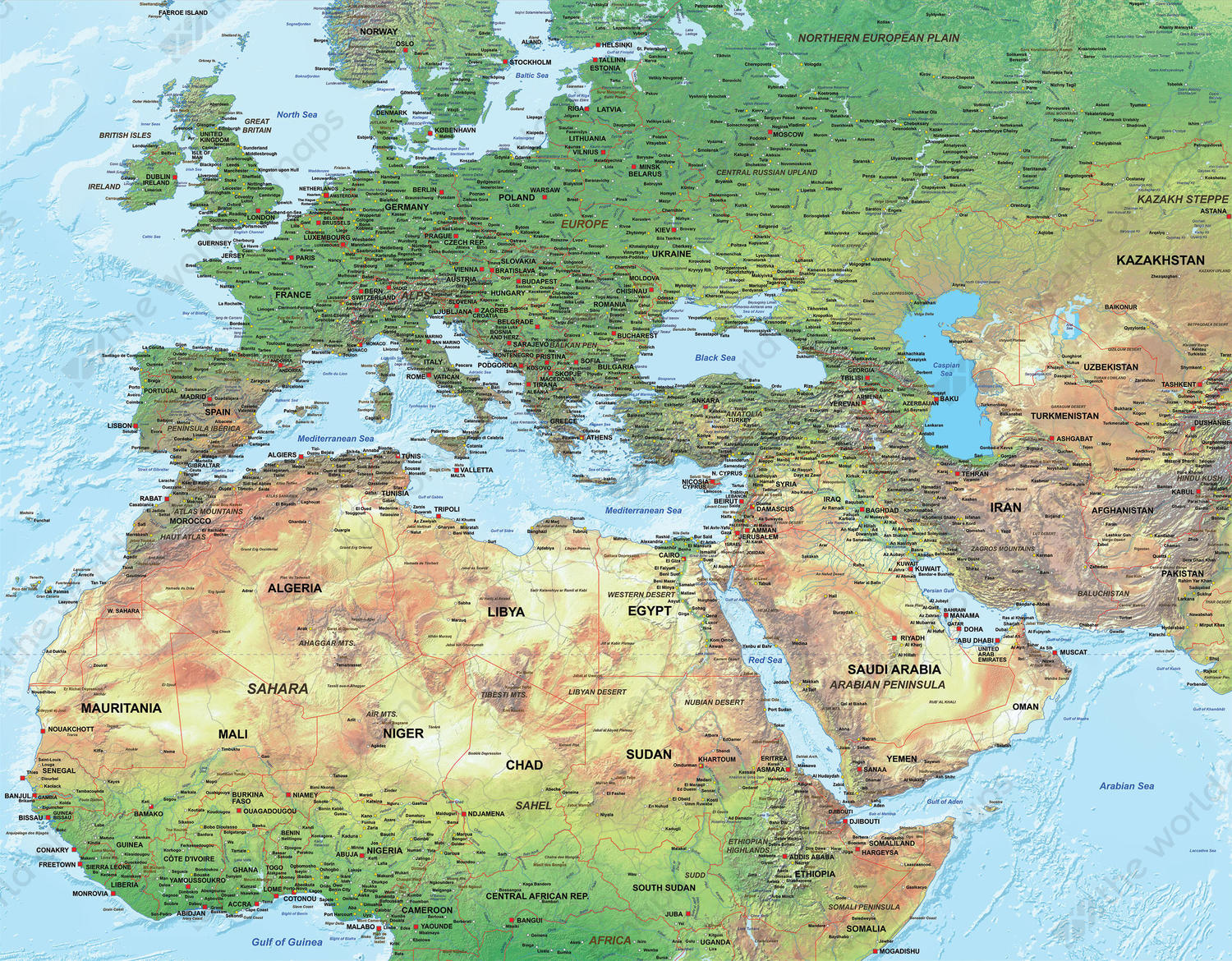 Physical Digital Map Europe North Africa Middle East 1316 The