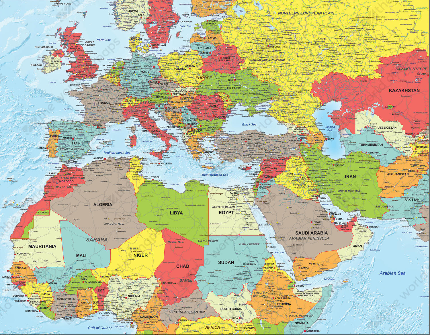 Digital Political Map North Africa Middle East And Europe 1317 The World Of Maps Com