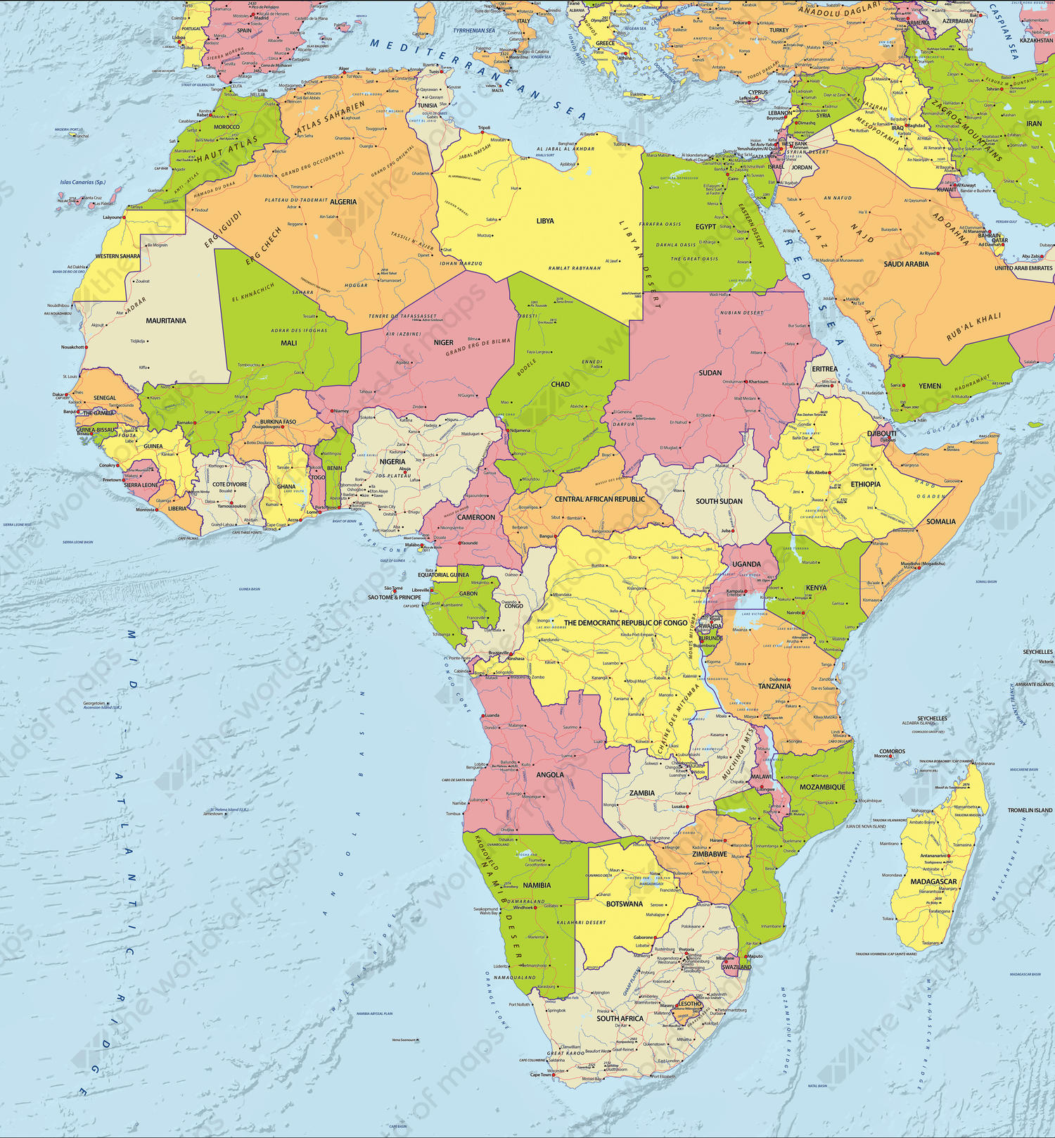 Digital Political Map Africa 627 | The World of Maps.com