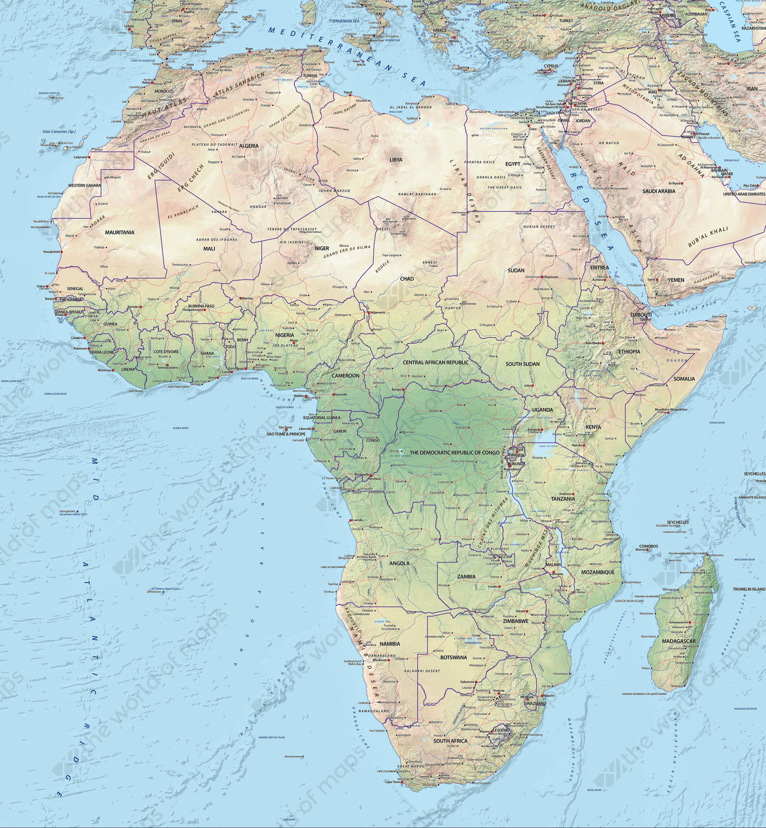 Map Of Africa Physical.Digital Map Africa Physical 628 The World Of Maps Com