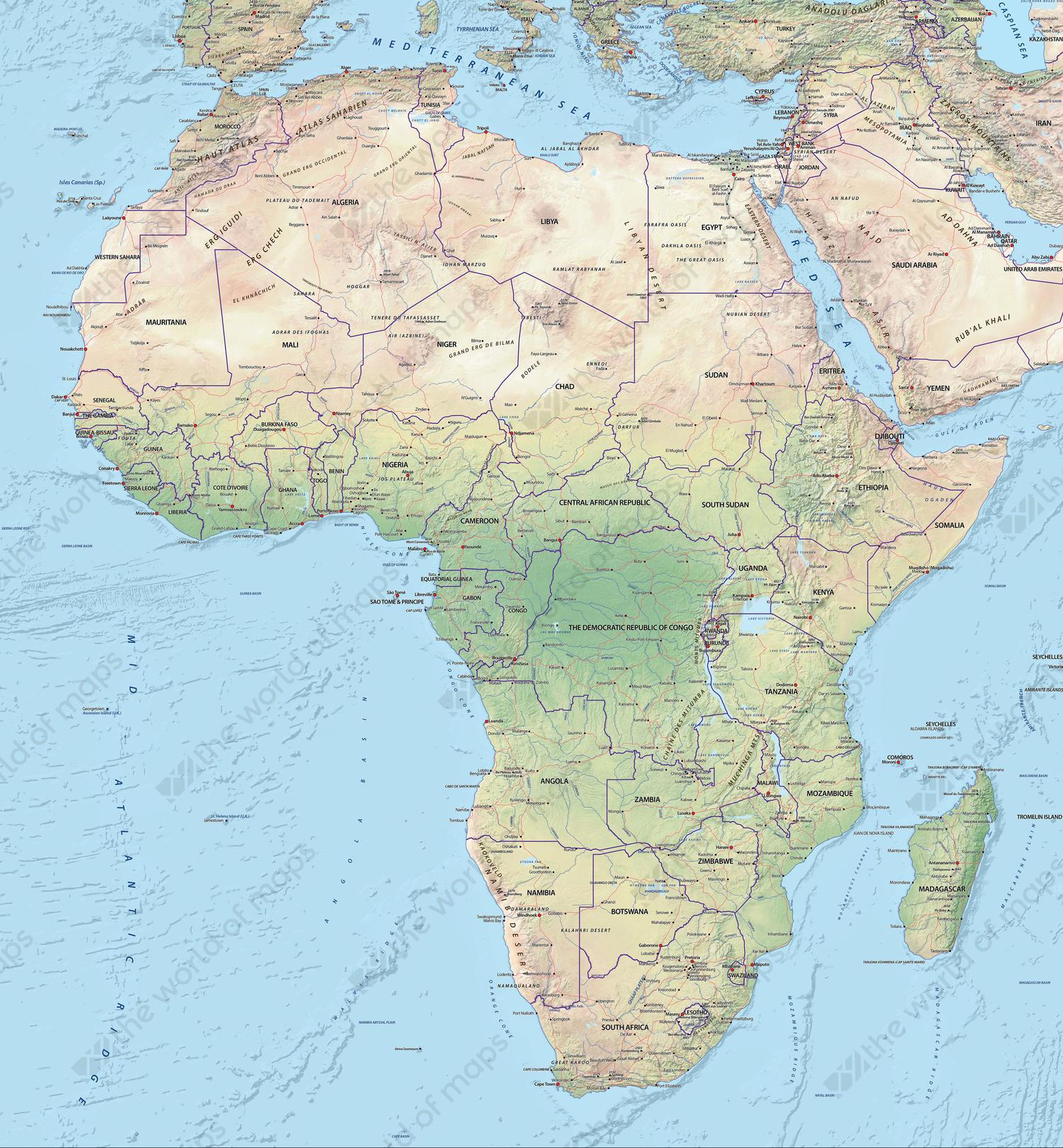Digital map Africa physical