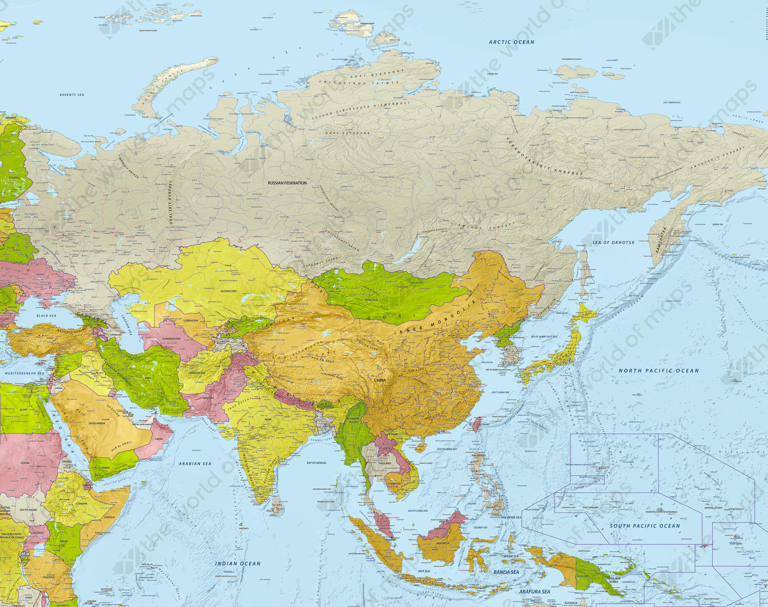 Digital Map Asia With Relief