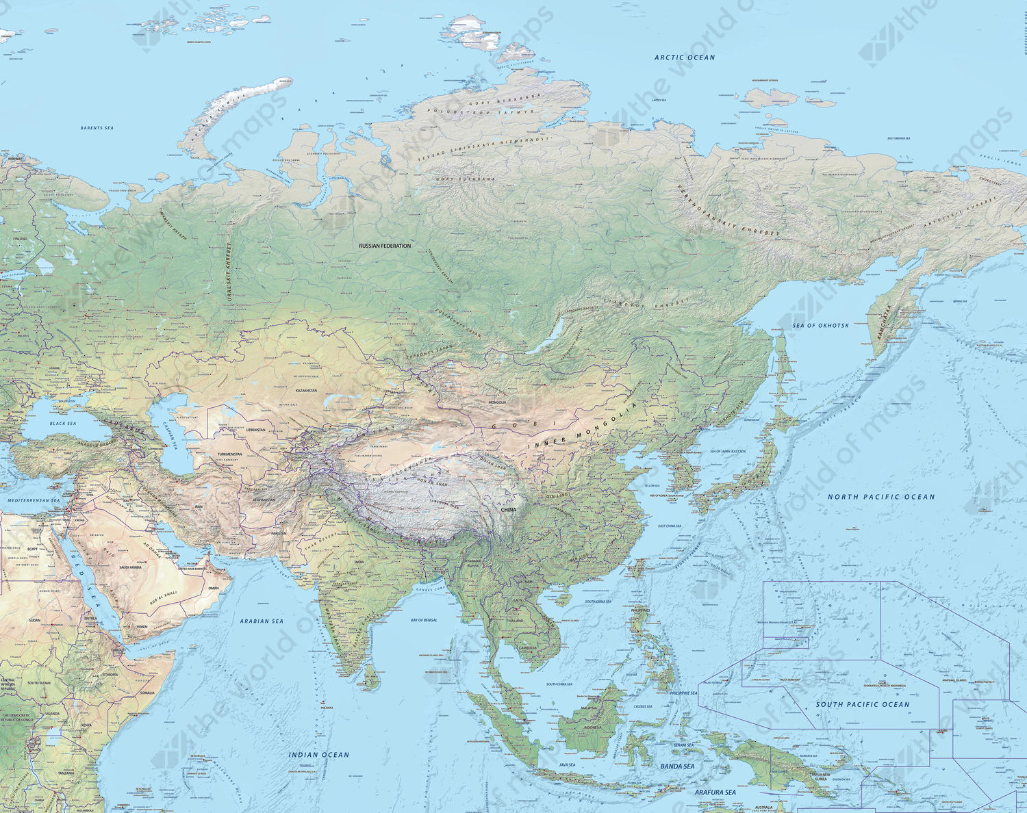 Complete Map Of Asia.Digital Map Asia Physical 637 The World Of Maps Com