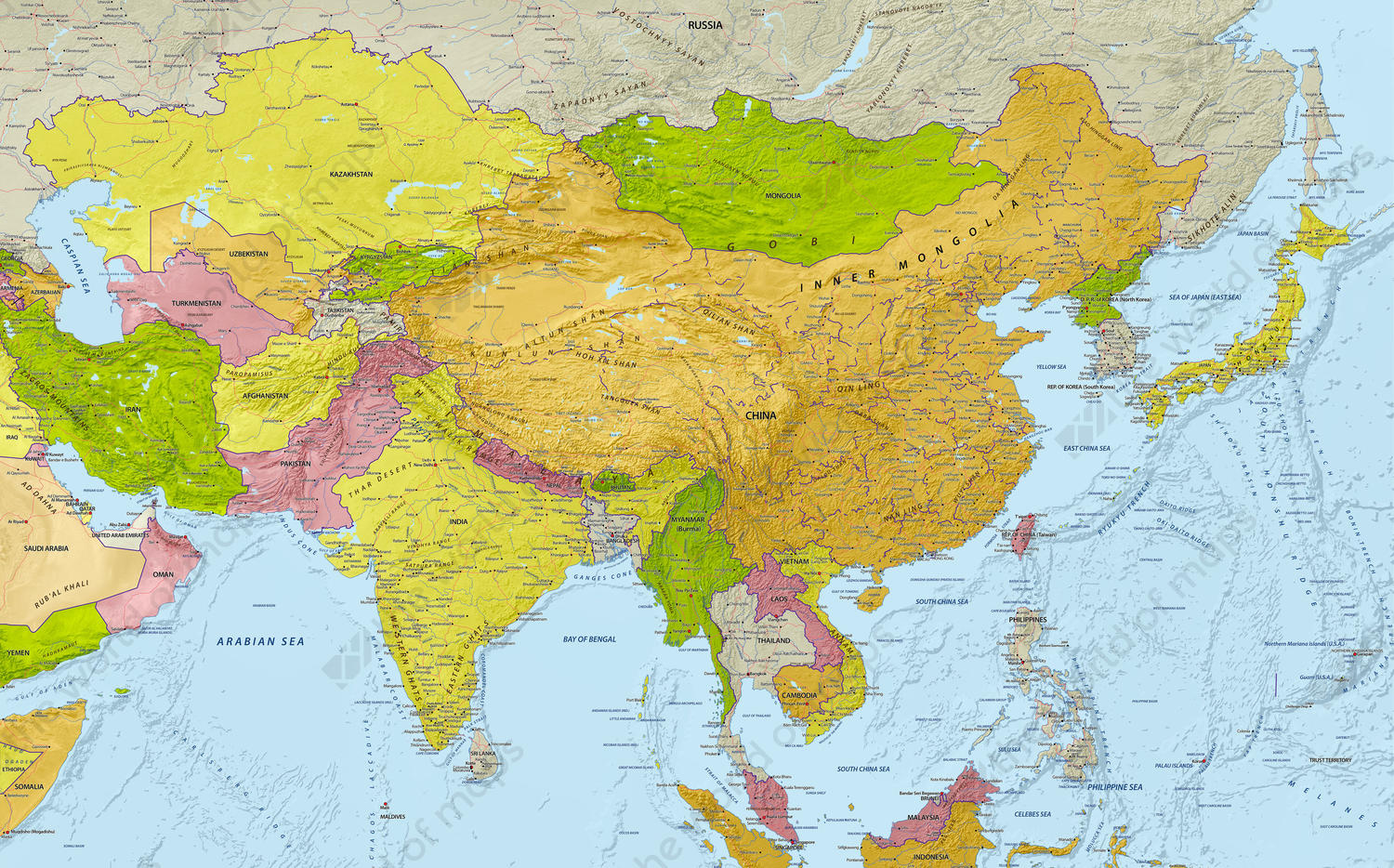 Digital Map Central Asia with relief 641 | The World of Maps.com