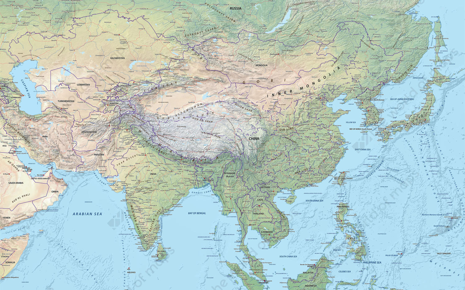 Map Of Asia Full Hd.Digital Map Central Asia Physical 643 The World Of Maps Com