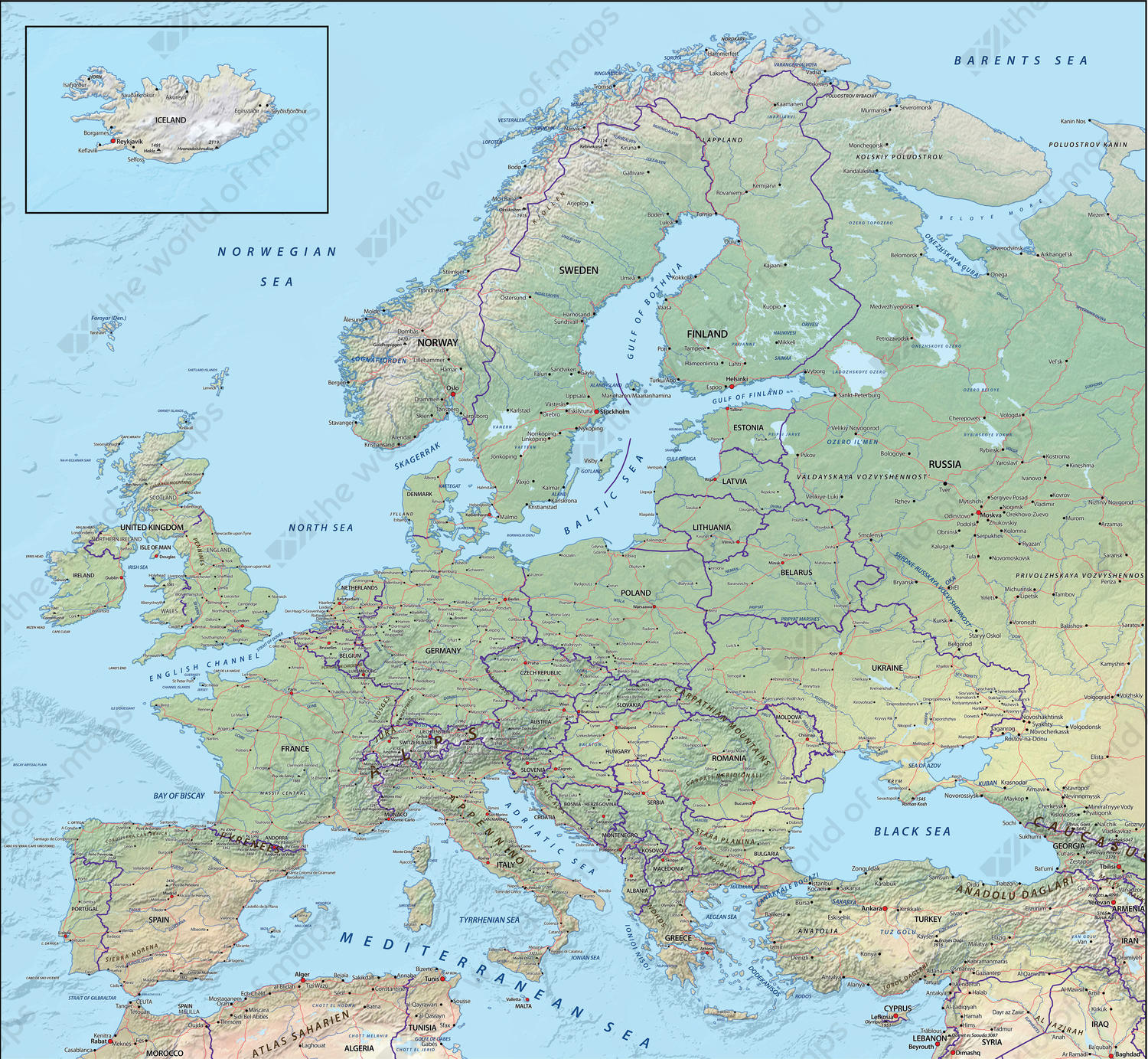 Digital Map Europe Physical 622 | The World of Maps.com