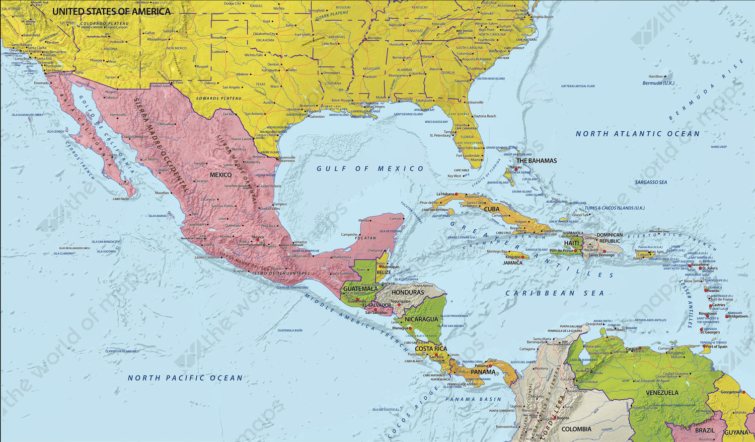 Digital Map Central America with relief 629 | The World of Maps.com