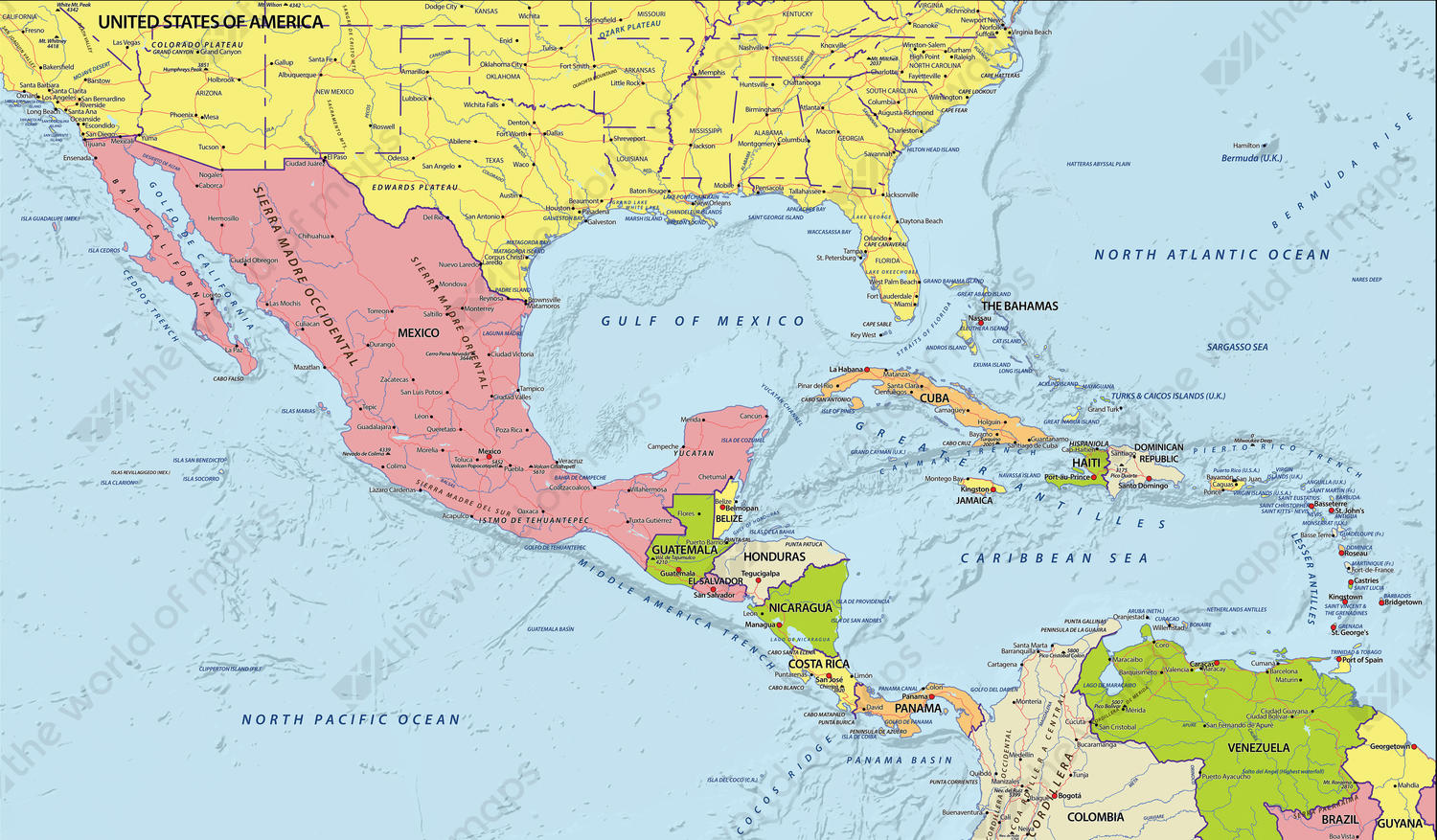 Political Digital Map Central America 630 The World of Mapscom