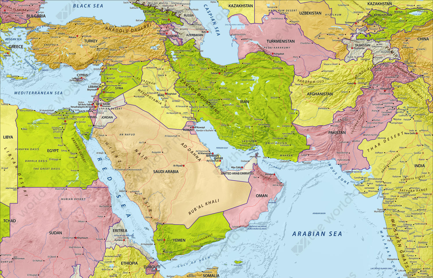 Digital Map Middle East with relief 632 | The World of Maps.com