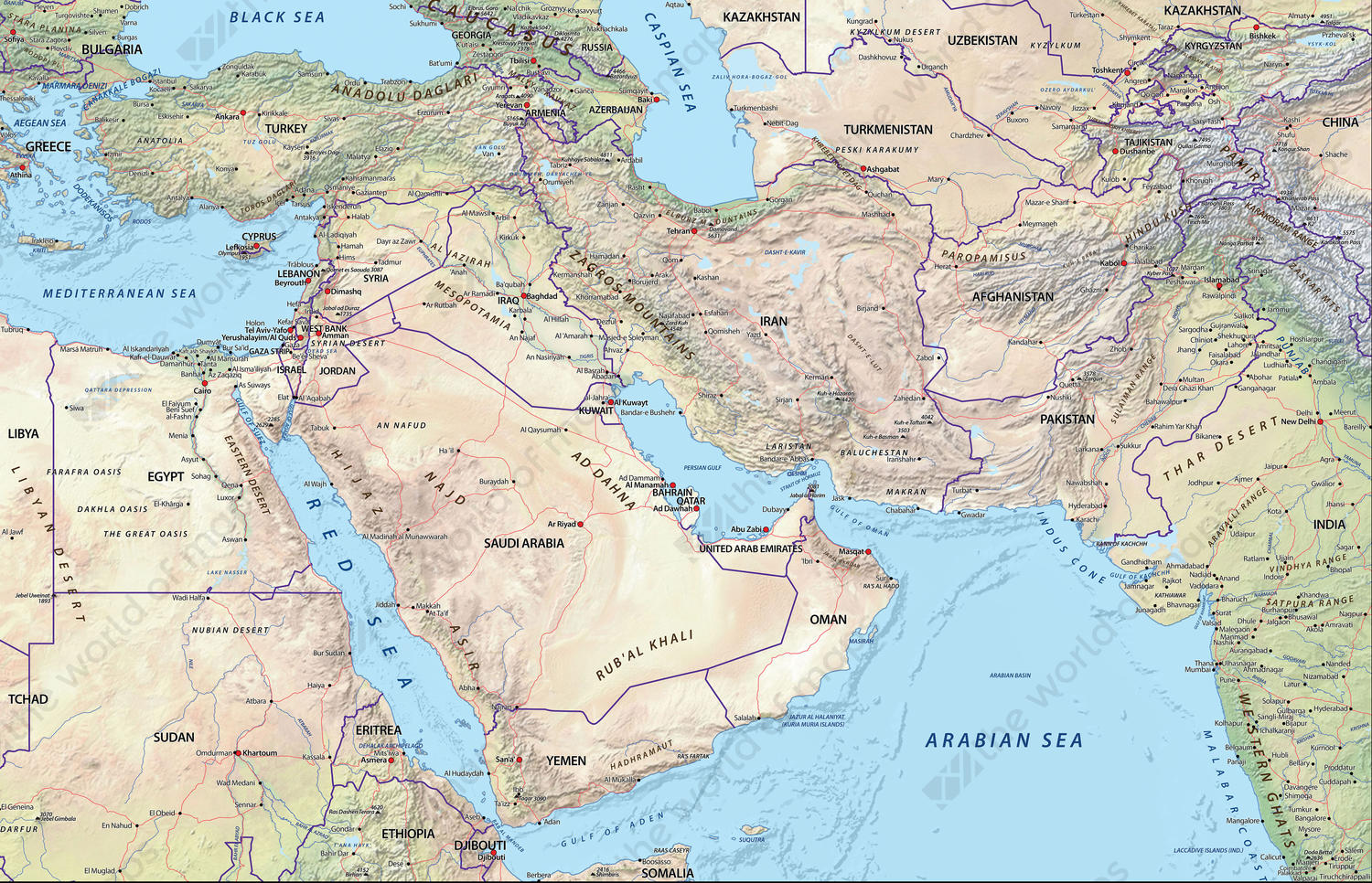 Middle East Map.Digital Physical Map Middle East 634 The World Of Maps Com