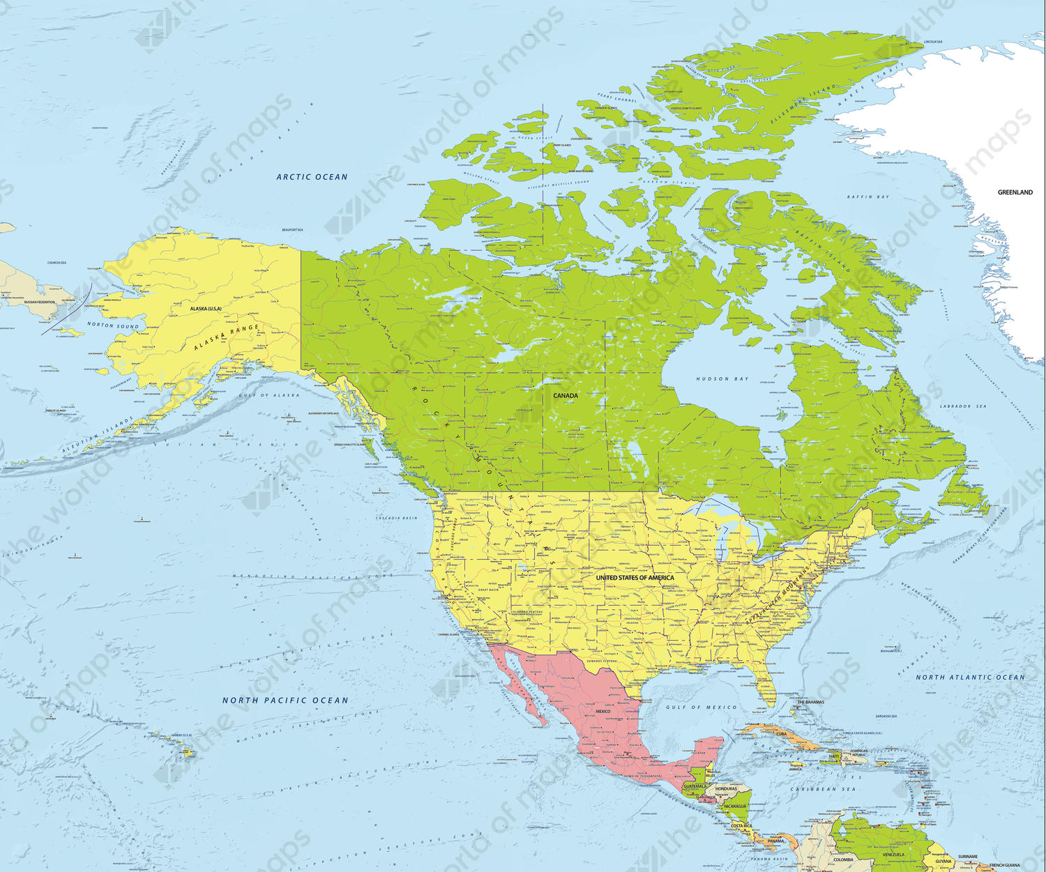 Digital Map North America Political 624 | The World of Maps.com