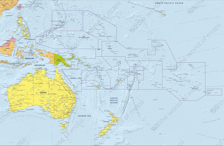 Digital Map Oceania Political 639 | The World of Maps.com