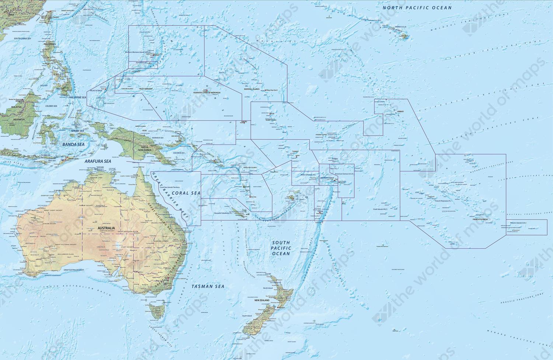 Digital map Oceania physical