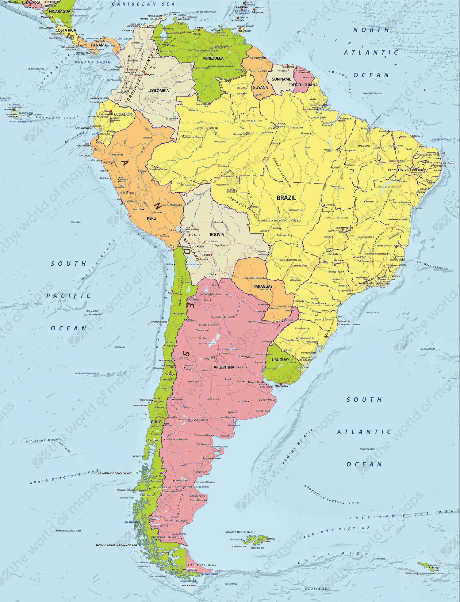 world map south america