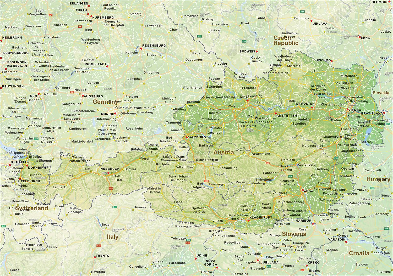 Digital physical map of Austria 1455 The World of Mapscom