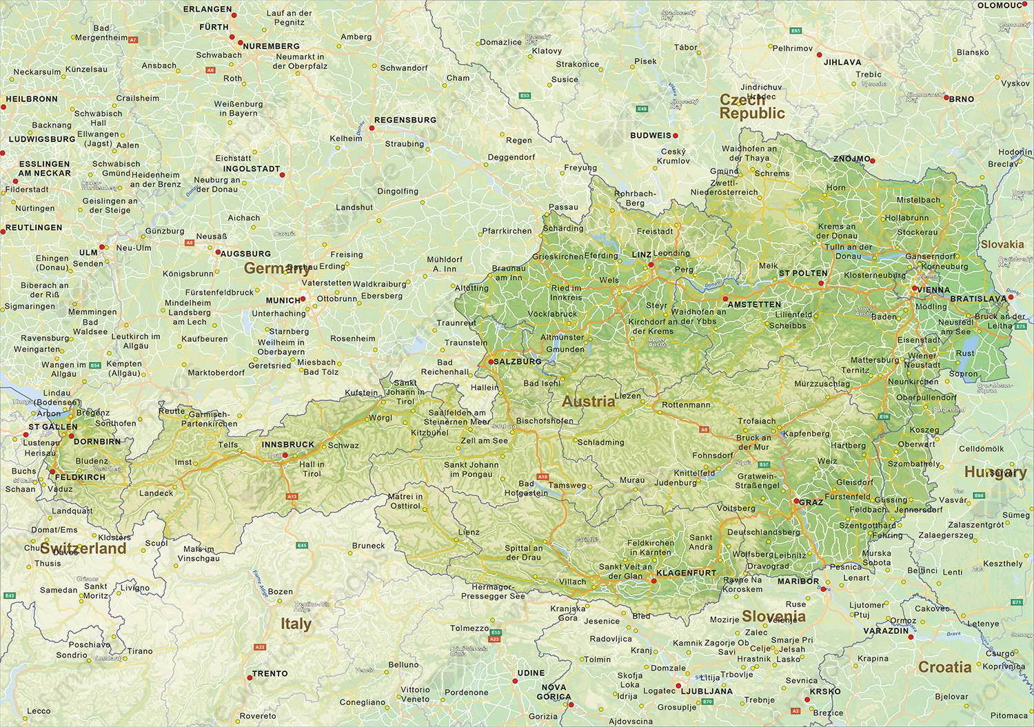 Image of: Digital Physical Map Of Austria 1455 The World Of Maps Com