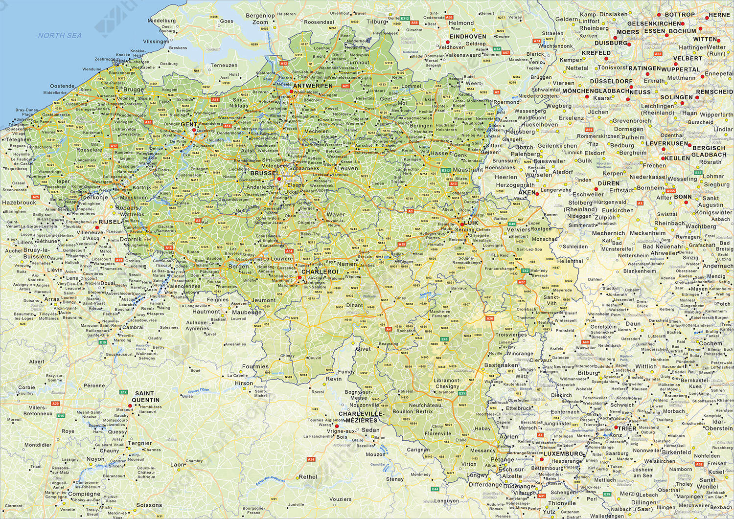 Digital physical map of Belgium