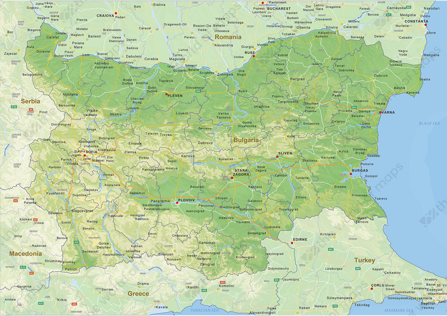 Digital physical map of Bulgaria