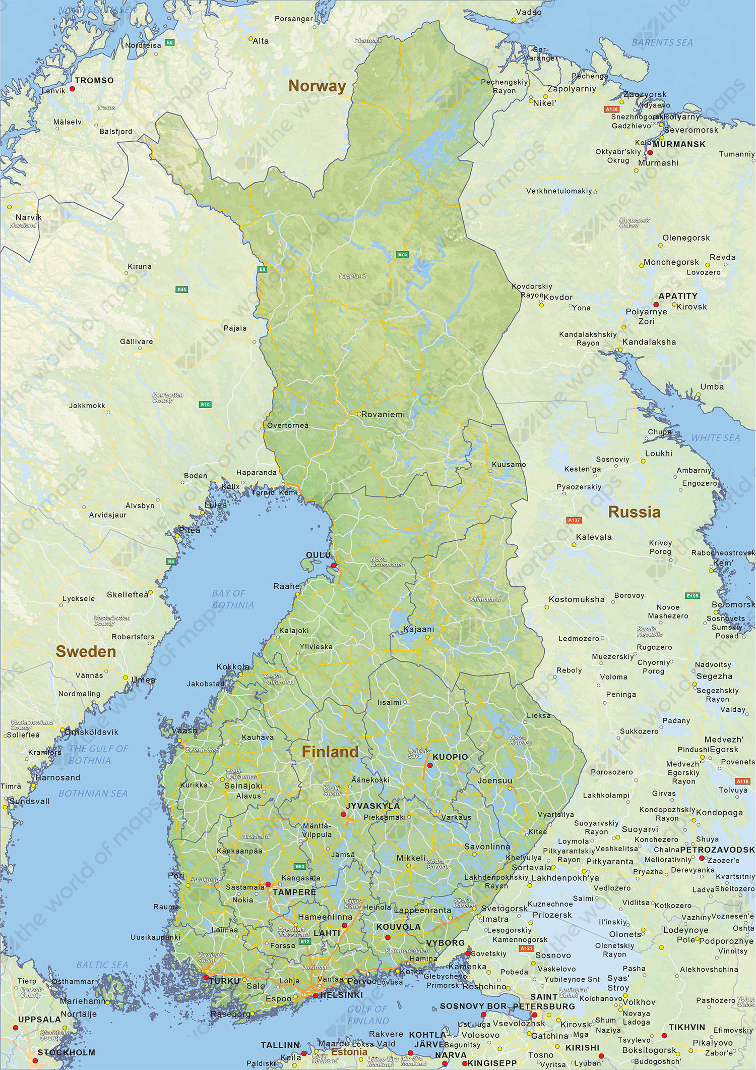 Digital physical map of Finland