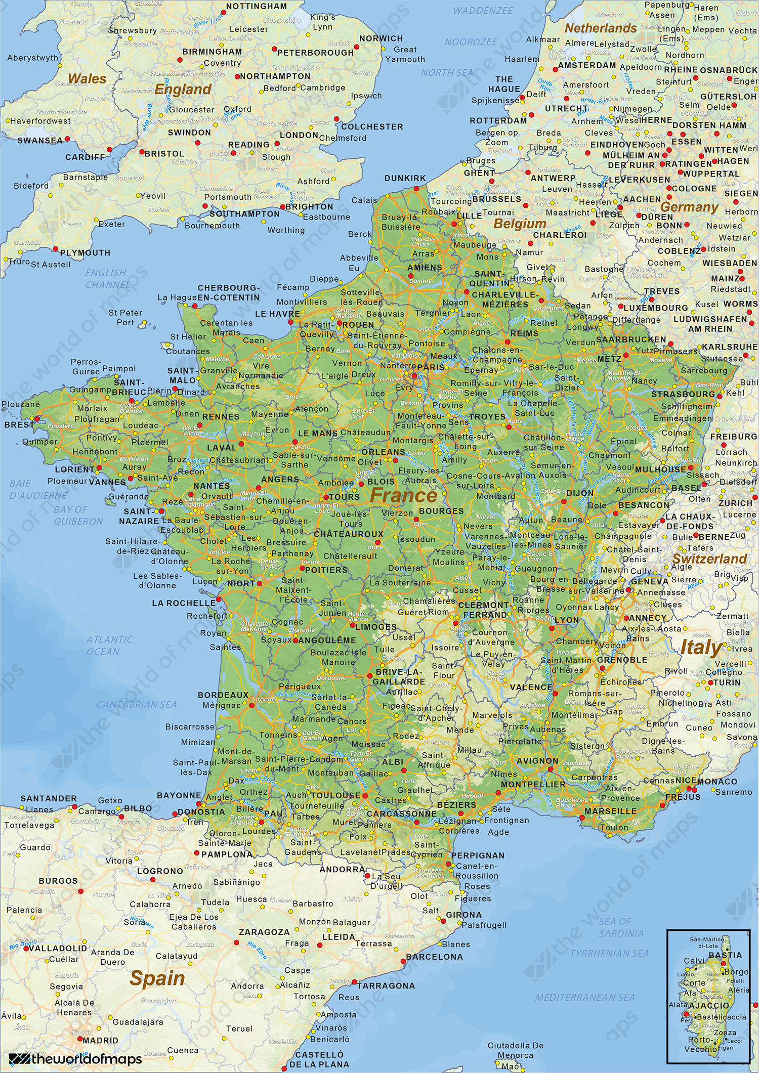 Digital physical map of france 1433 the world of maps digital physical map of france gumiabroncs Choice Image