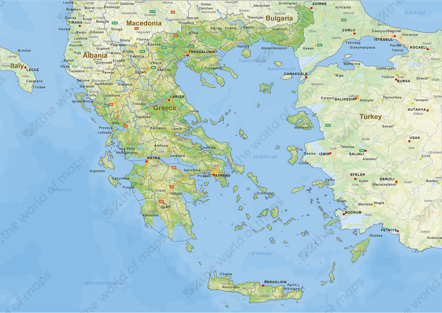 digital physical map of greece