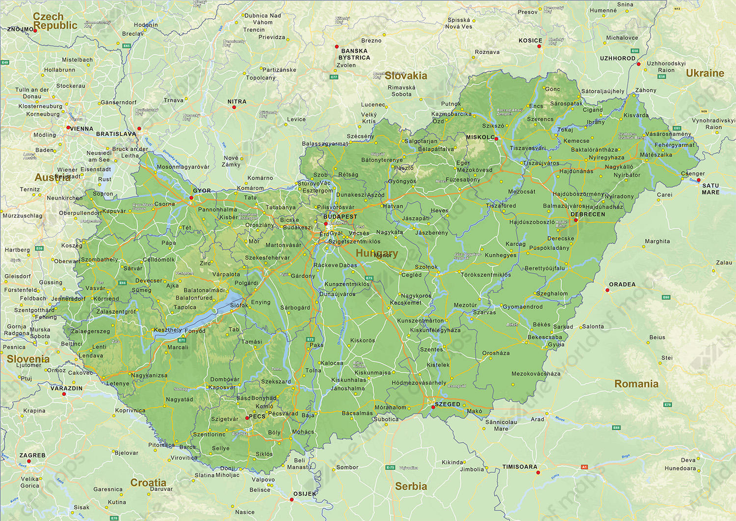 Digital physical map of Hungary 1439 The World of Mapscom