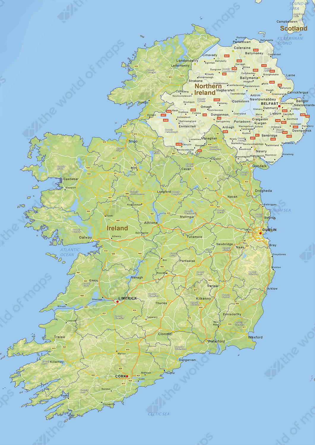 Digital physical map of Ireland