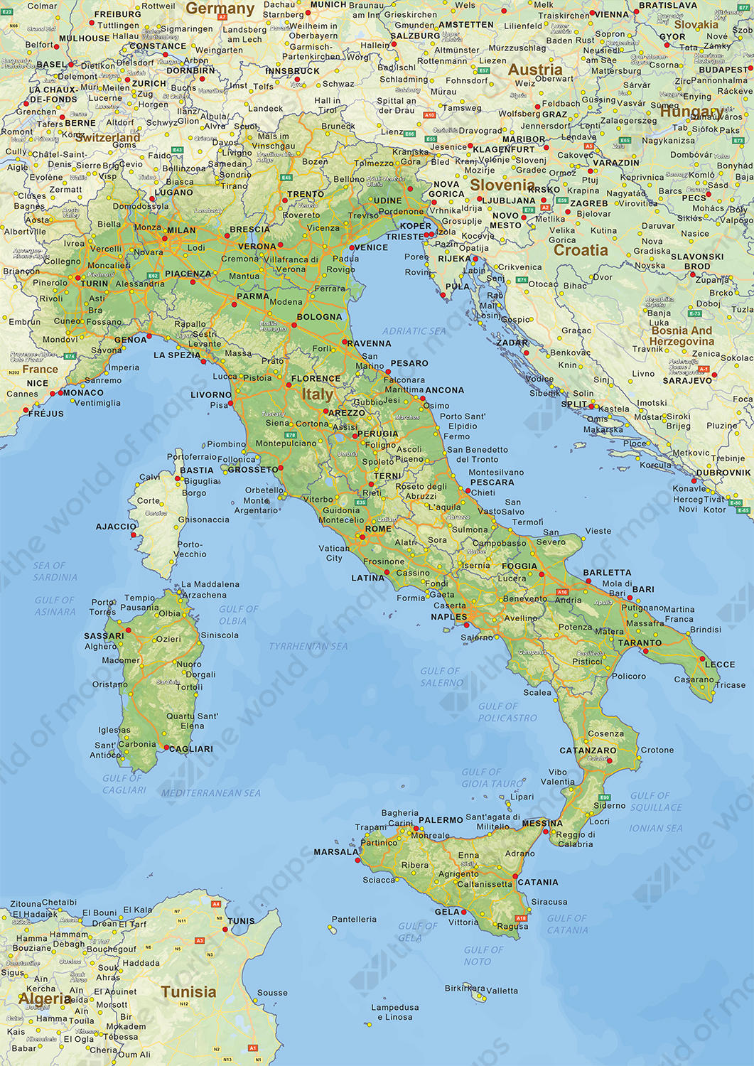 Pics Of Italy Map.Digital Physical Map Of Italy 1443 The World Of Maps Com