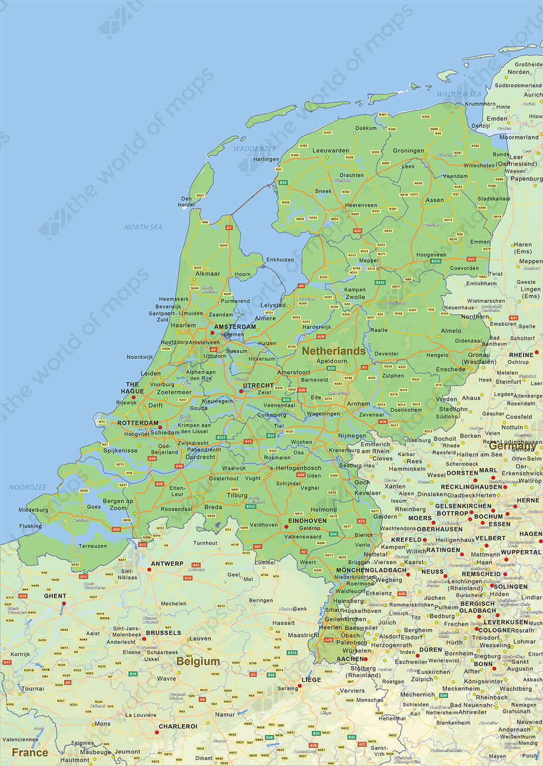 Digital physical map of The Netherlands 1451 The World of Mapscom