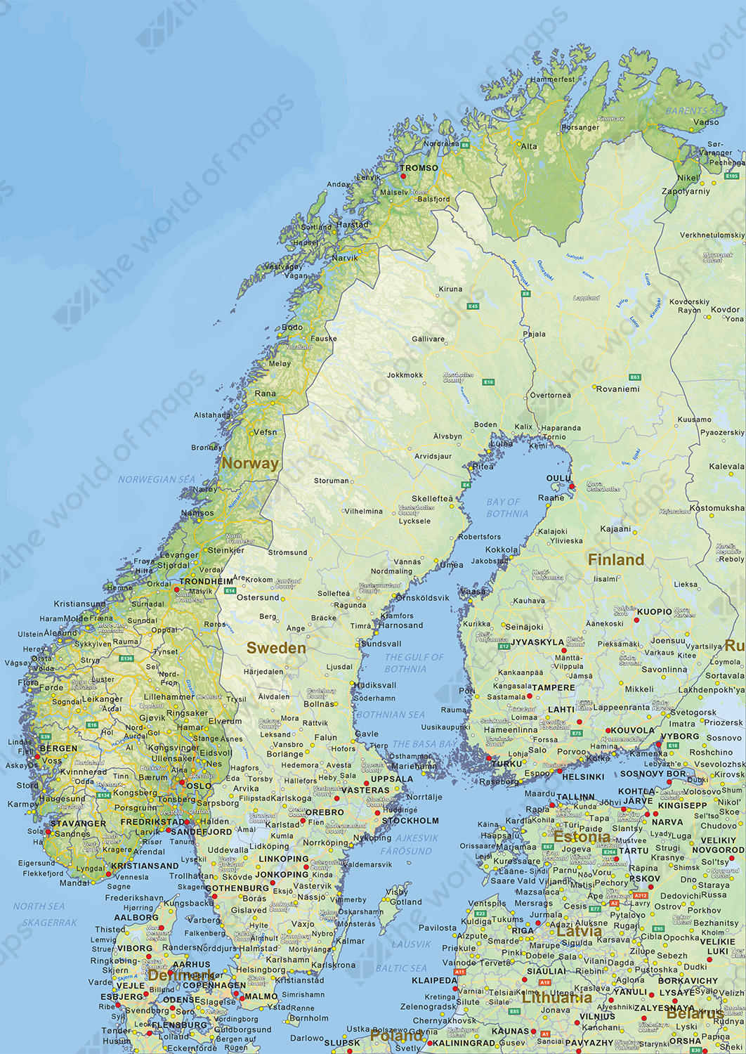 Digital physical map of Norway 1453 The World of Mapscom