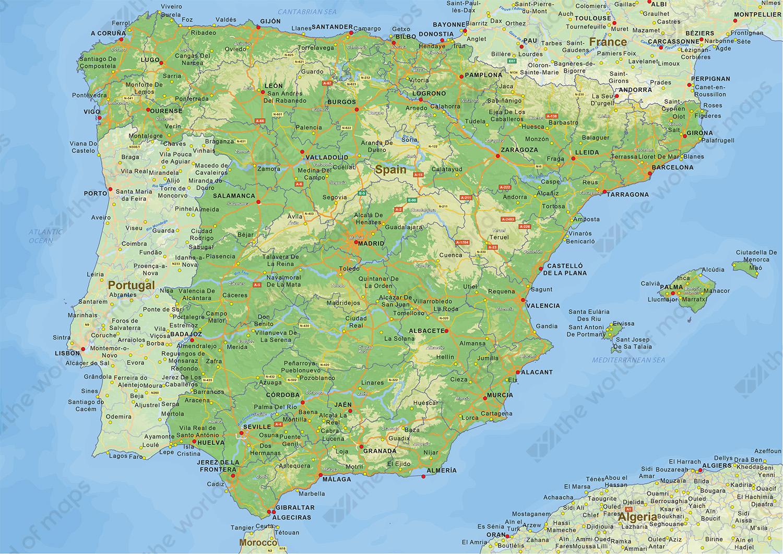 Digital physical map of Spain Digital physical