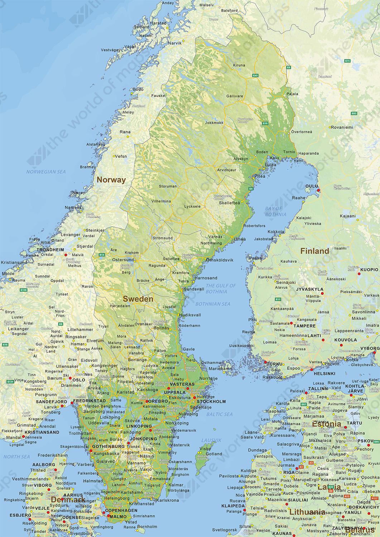 Digital physical map of Sweden
