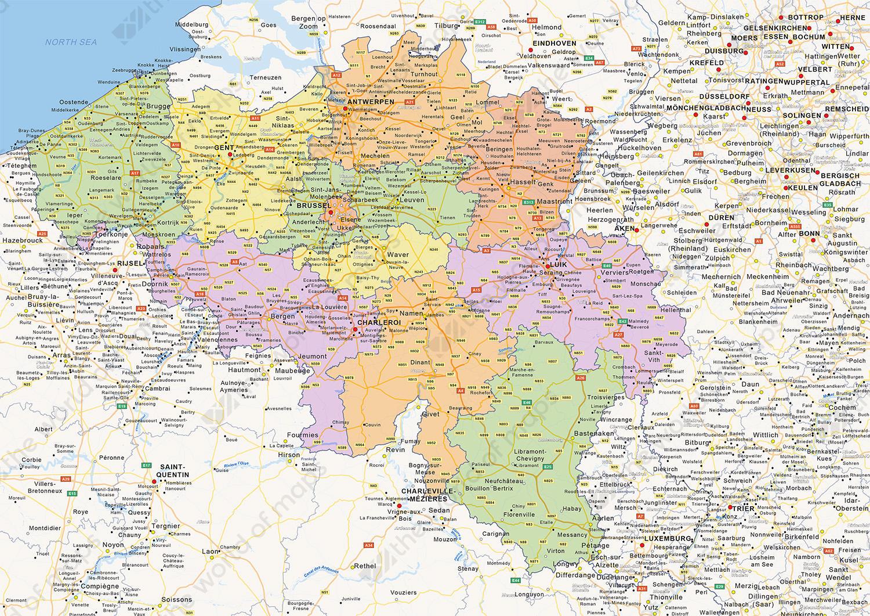 Digital political map of Belgium 1426 The World of Mapscom