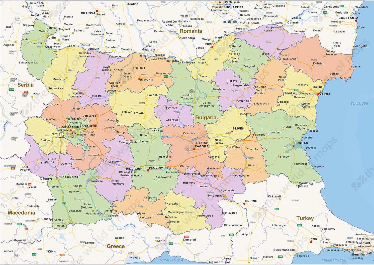 Picture of: Digital Political Map Of Bulgaria 1428 The World Of Maps Com
