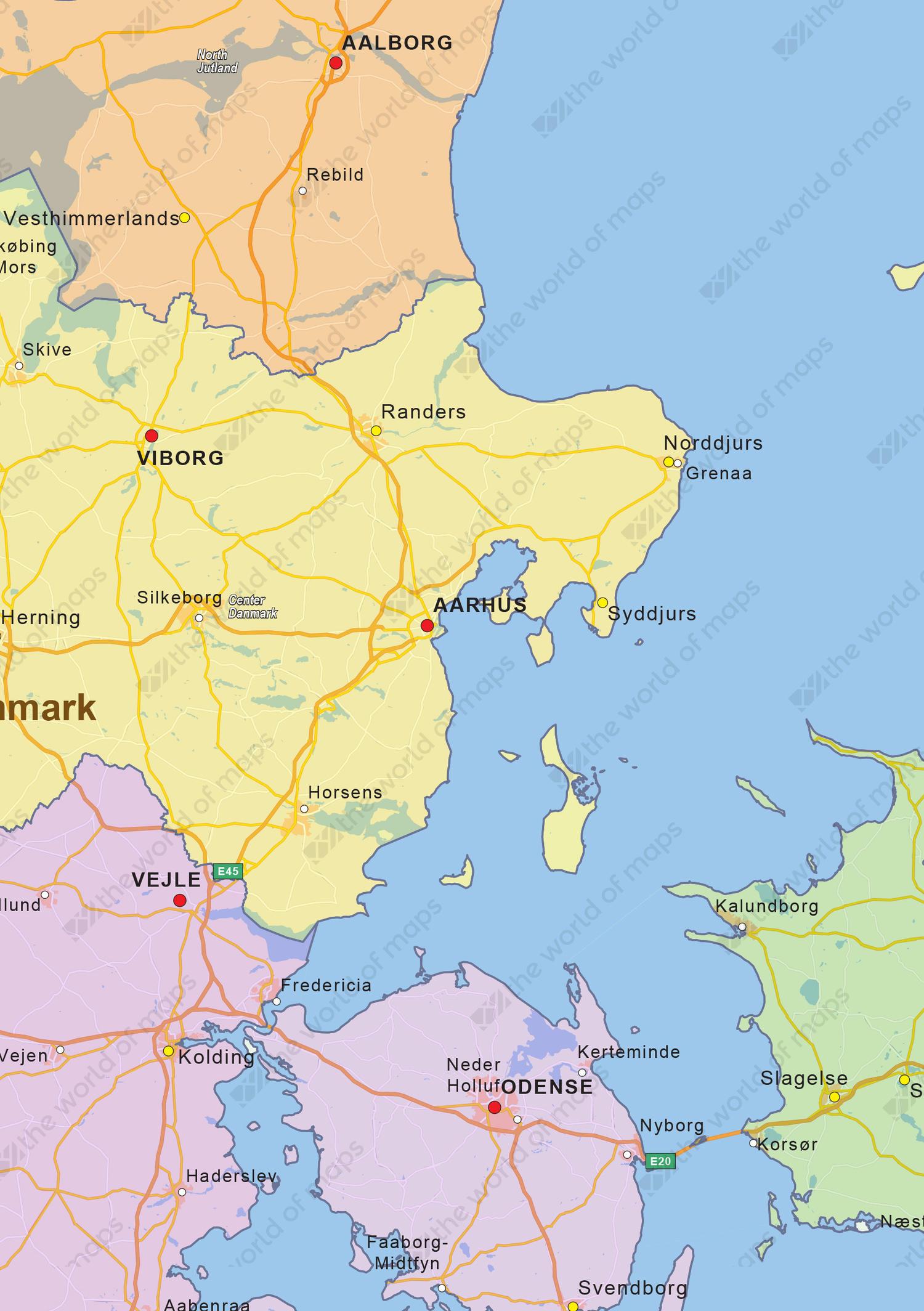 Digital political map of Denmark