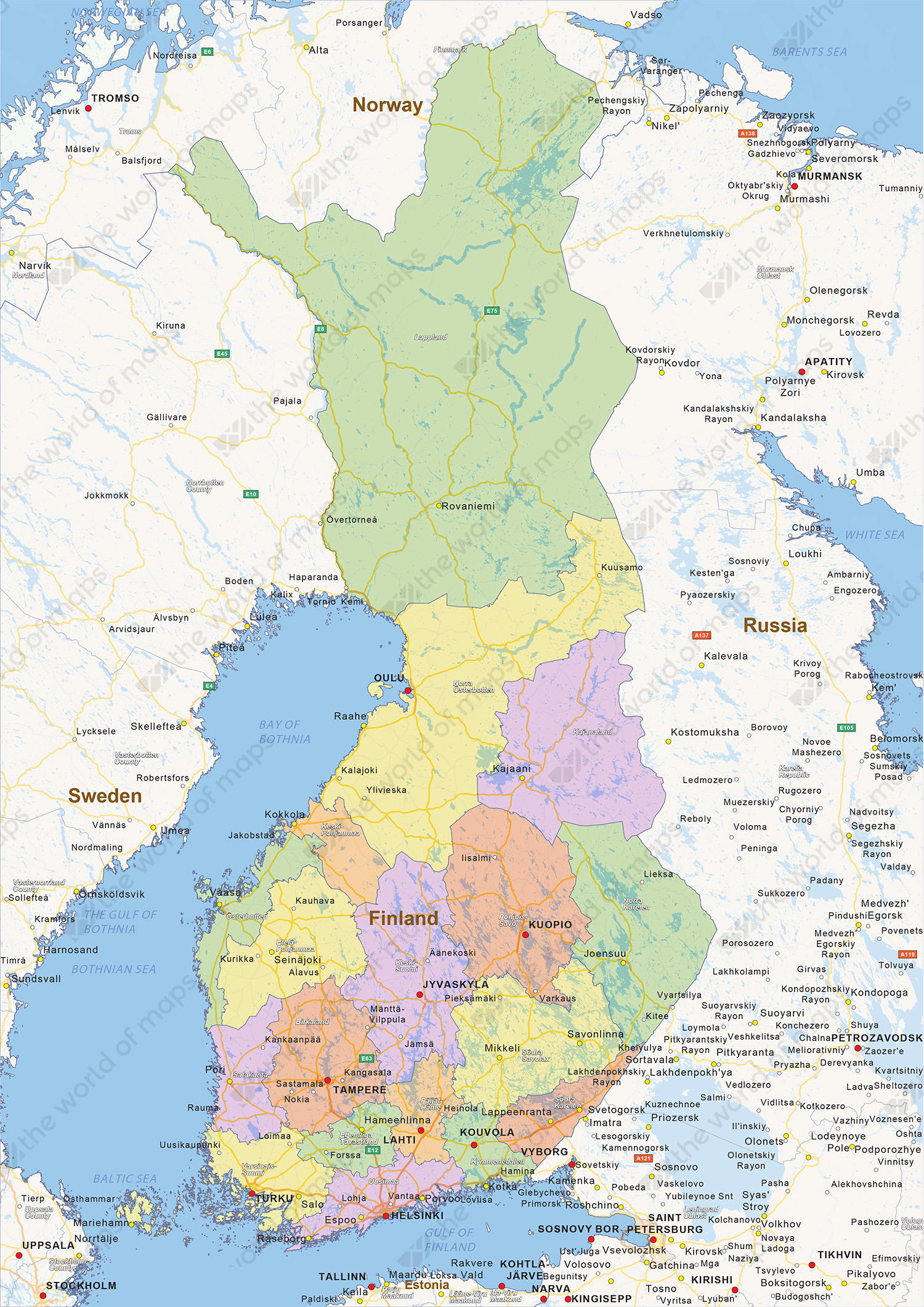 Digital political map of Finland 1432 The World of Mapscom