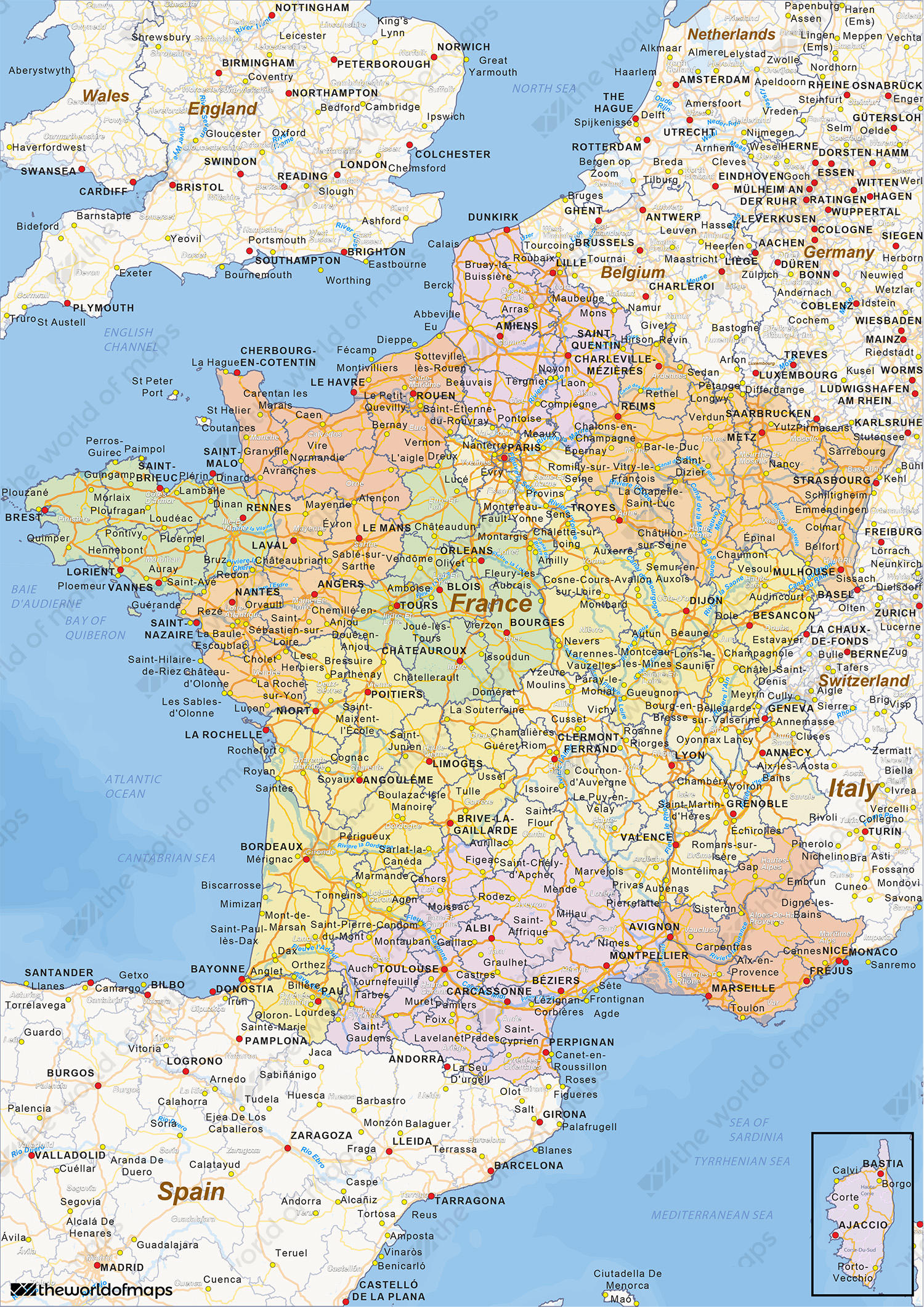 Digital political map of France