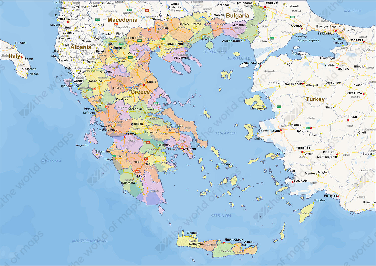 Digital political map of Greece 1438 The World of Mapscom