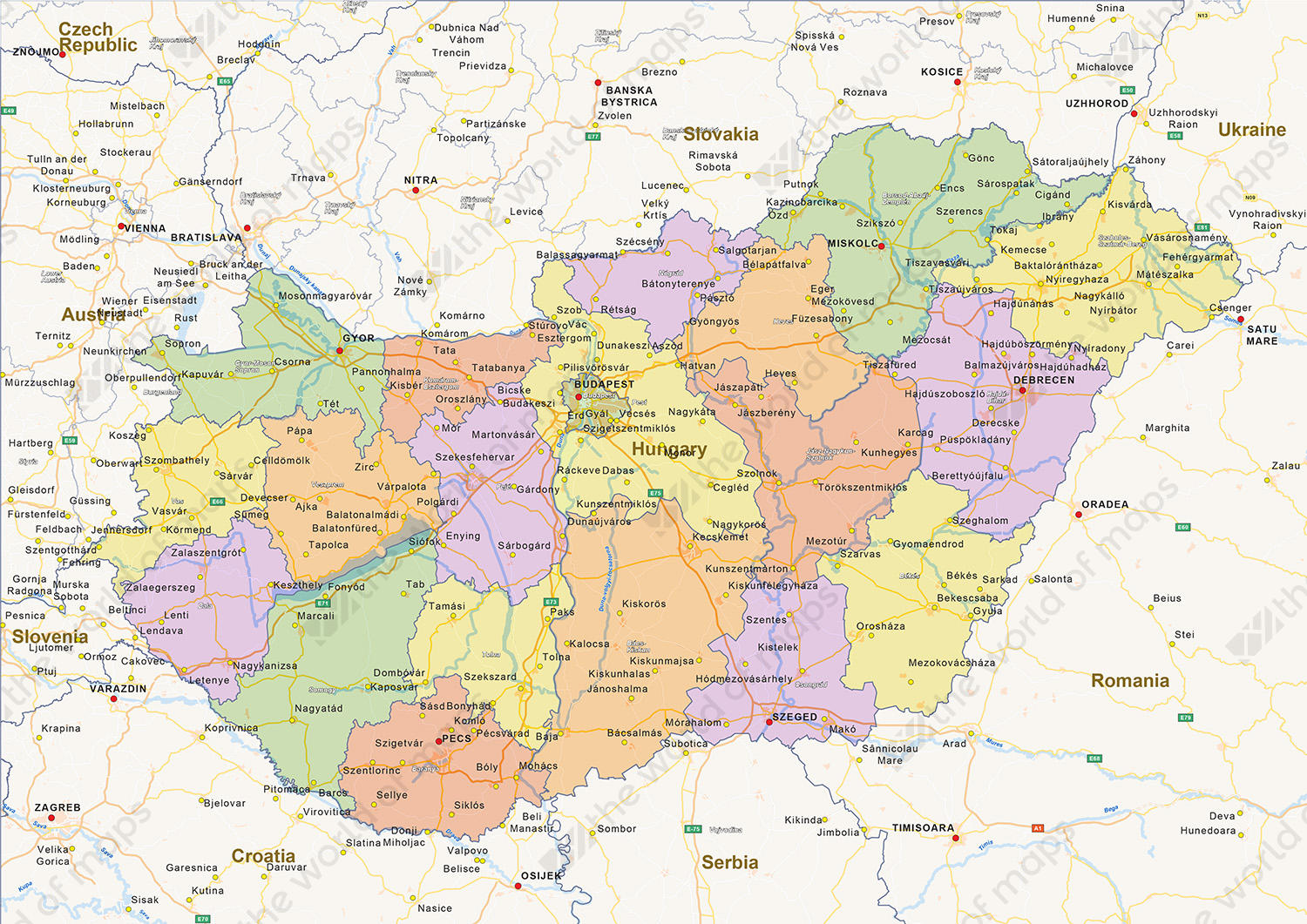 Image of: Digital Political Map Of Hungary 1440 The World Of Maps Com