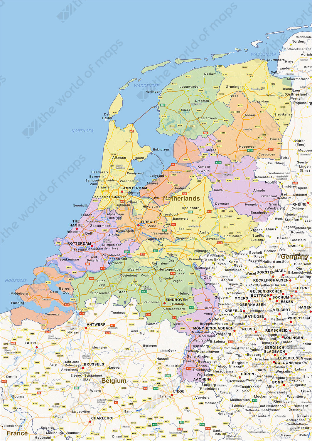 Digital Political Map Of The Netherlands 1452 The World Of Maps Com