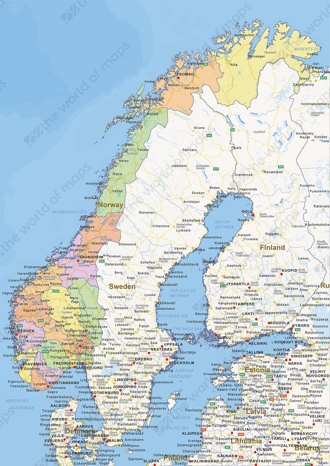 Digital political map of Norway 1454 | The World of Maps.com