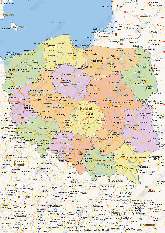Digital political map of Poland