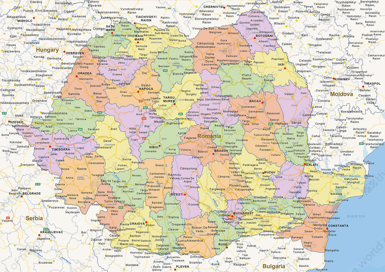 Digital politcal map of Romania
