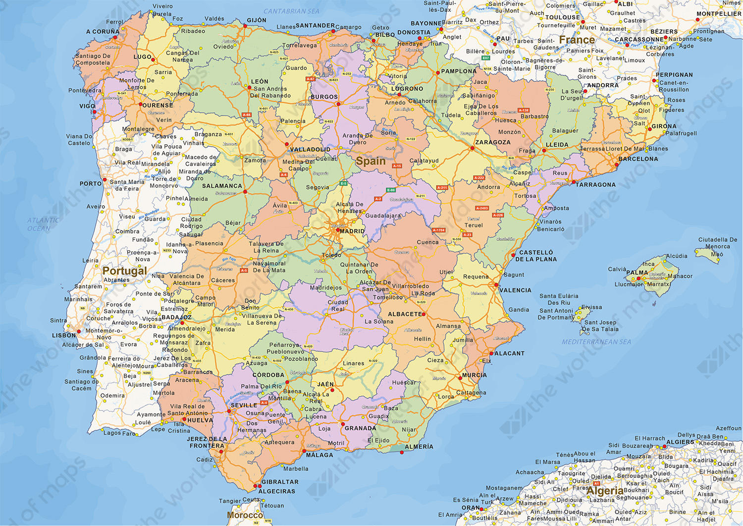 Spain On Map Of World.Digital Political Map Of Spain 1466 The World Of Maps Com