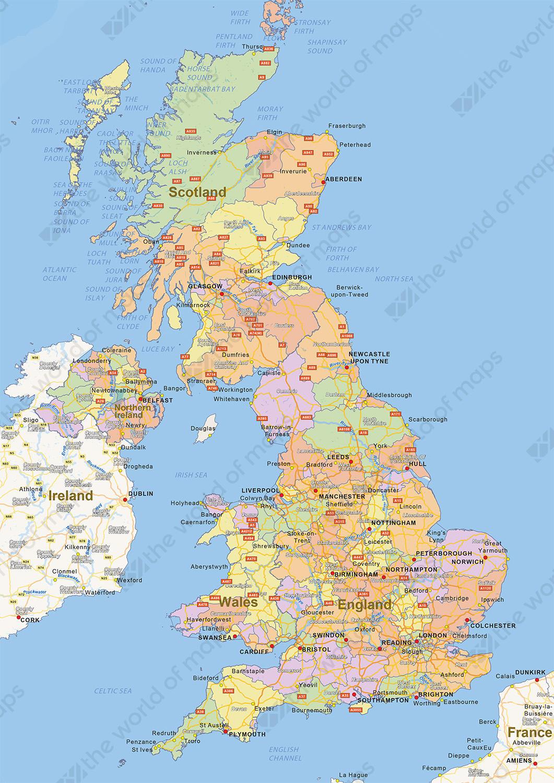 Digital political map of United Kingdom