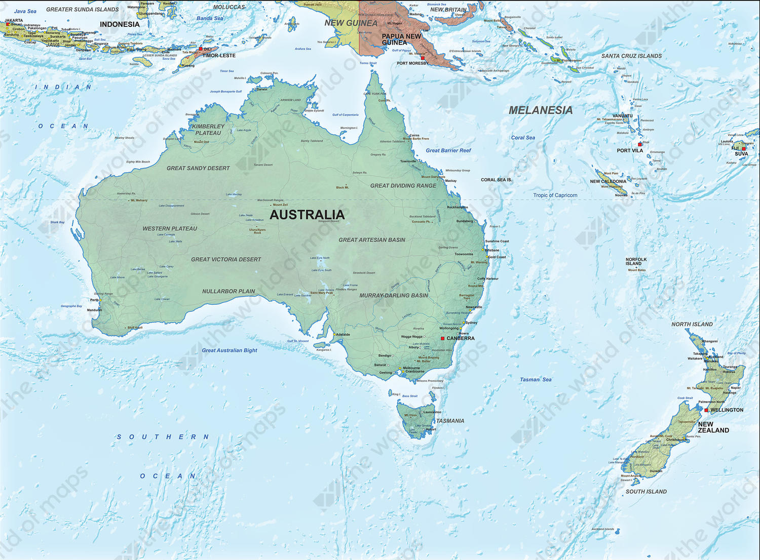 Digital Political Map Australia with relief 1314 | The World ...