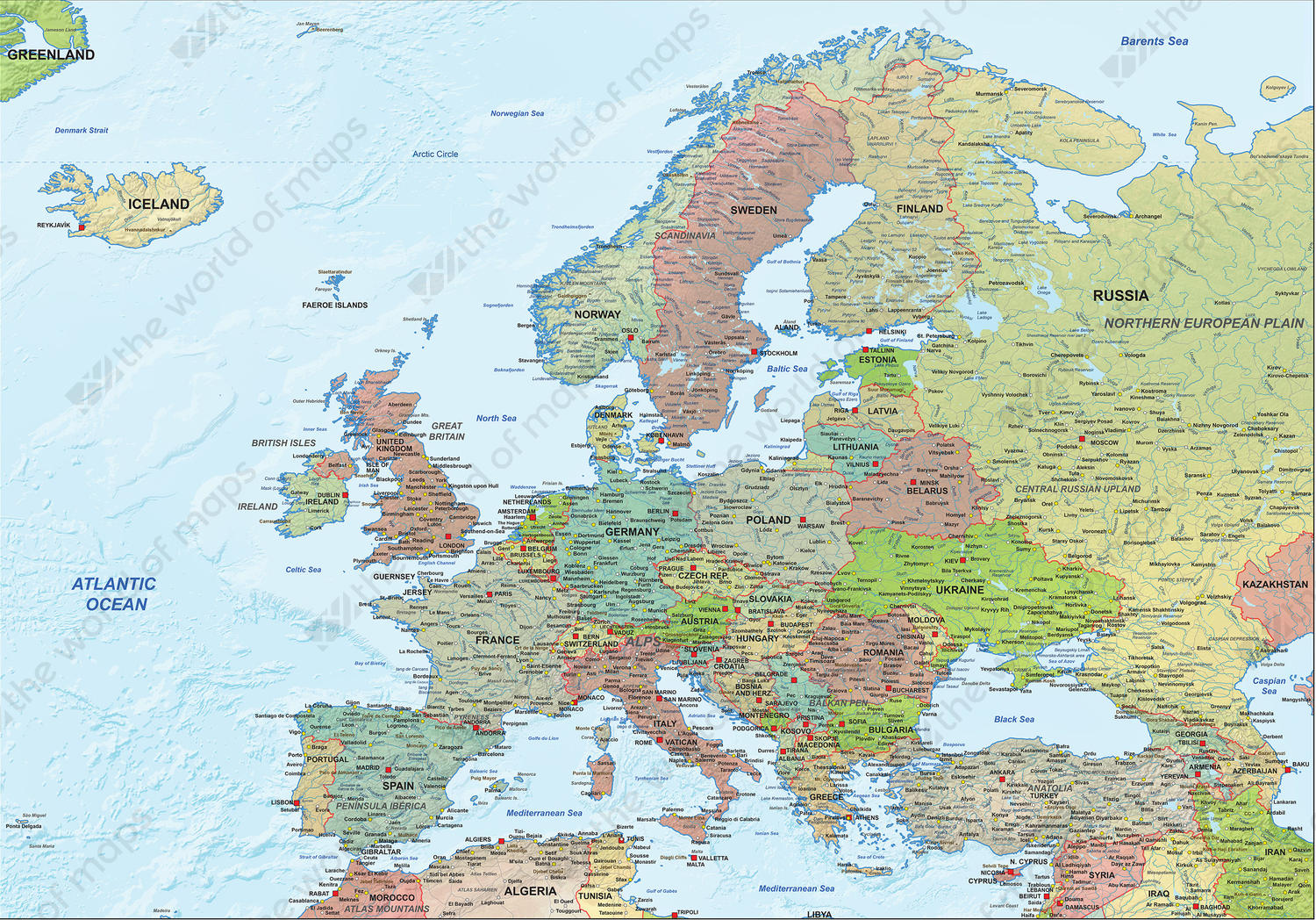 Digital Europe map political with relief