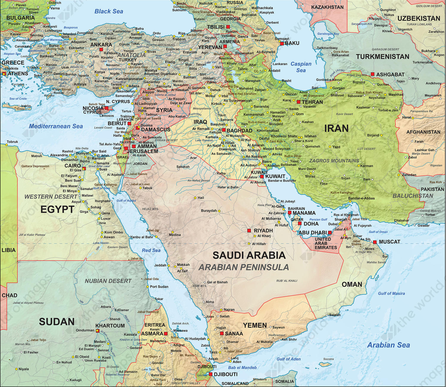 Digital Map Middle East Political with relief 1315 The World of